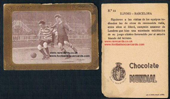 1923 golden border WHU interest Ilford v Barcelona Spanish trade card 12 Mundial Chox